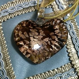 Jewelry - Glass Heart Pendant Brown